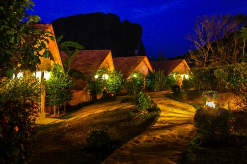 The bungalows at night.
