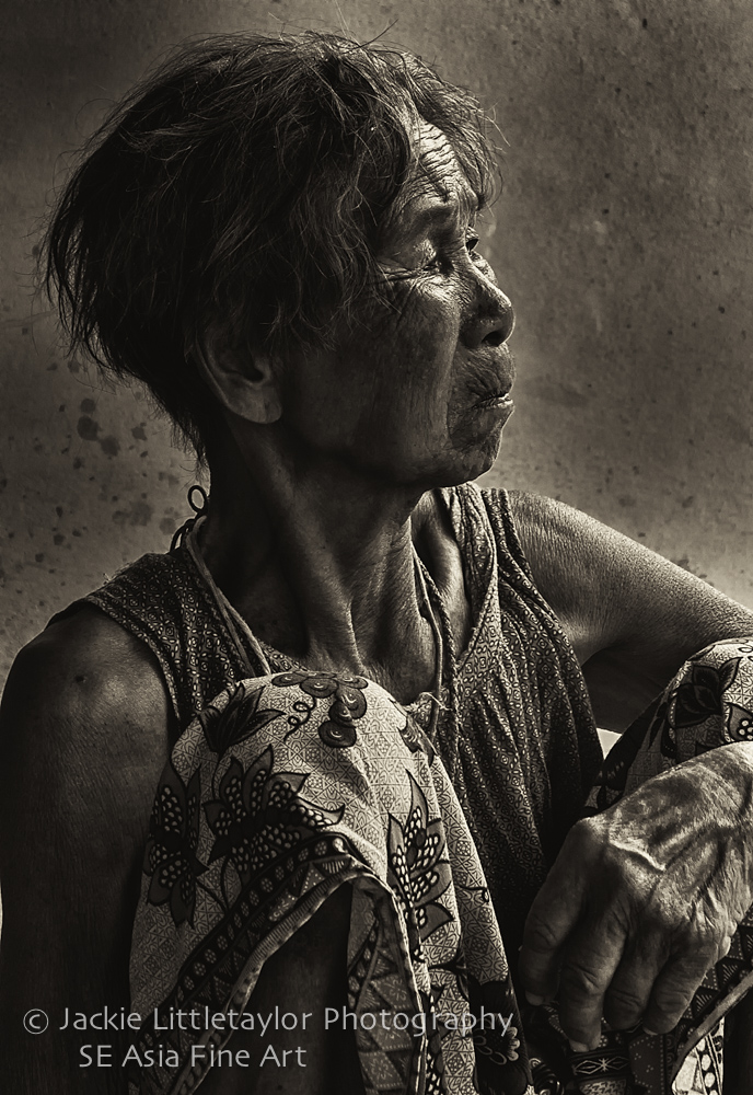 face of life lived Issan old woman Village life B/W serpia