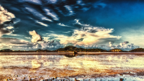 sunset mud flats low tide 16x9