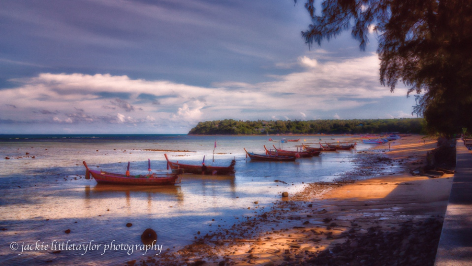Rawai coastline sunset lowtide many longtail boats 16x9