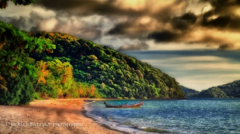 Long tail boat beach Cape Panwa Thailand impression 16x9