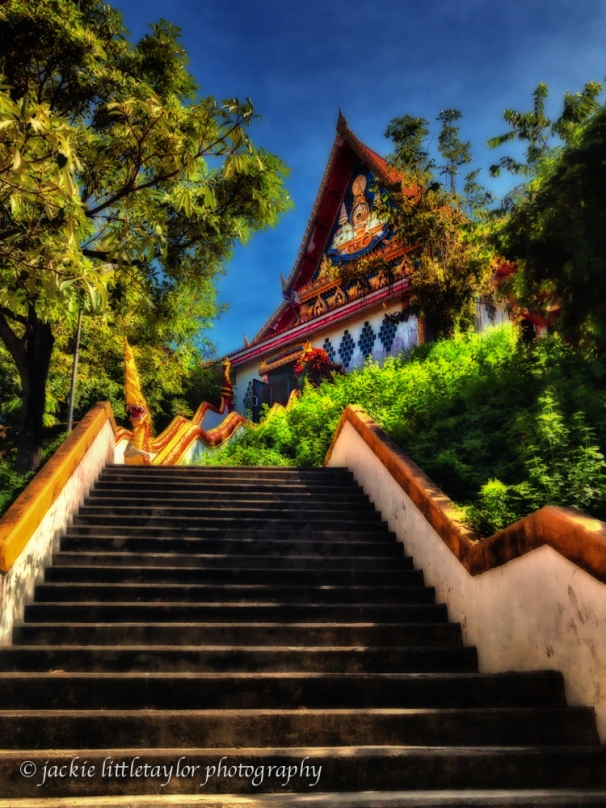 steps to Wat Siray Phuket Thailand impression
