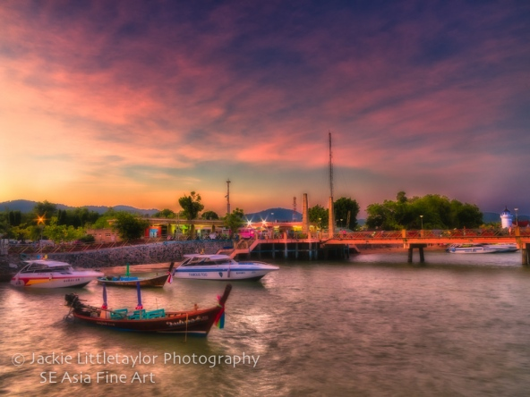 Chalong Beach Pavillion Pier evening sunset  Thailand