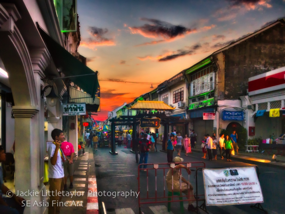 Sunset Walking Market Old Town Phuket Thailand