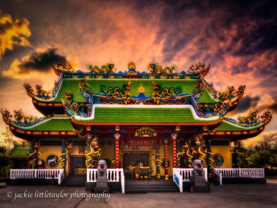 Guanau-Nabon Chinese Shrine sunset Phuket Thailand