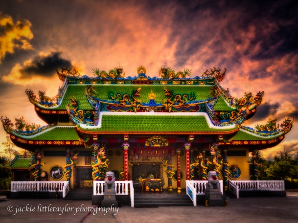 Guanau-Nabon Chinese Shrine sunset Phuket Thailand