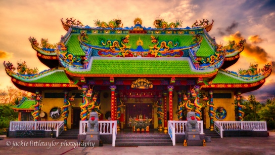 Guanau-Nabon Chinese Shrine Sunset clouds Phuket Thailand 16x
