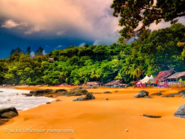 Laem Beach dark Clouds Phuket Thailand