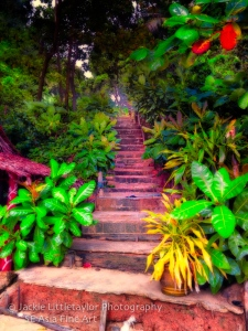 steps going up to parking area Laem Singh beach Phuket Thailand