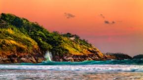wave crashing coast sunset Andaman Sea impression 16x9