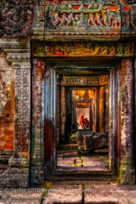 Monks other side Preah Vihear Cambodia Impression
