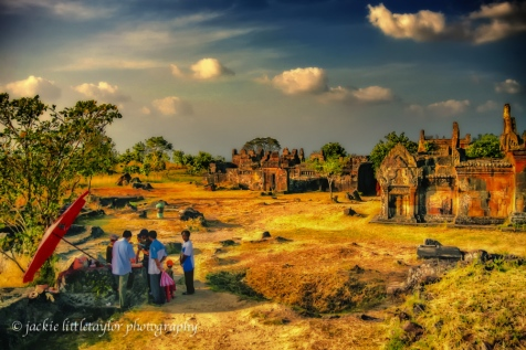 Tourist World Heritage Site Cambodia evening impression