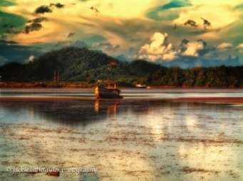 old trawler on the mud low tide sunset warm 4x6