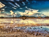 sunset mud flats low tide