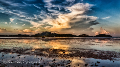 Sunset Phuket Harbor Low Tide HDR