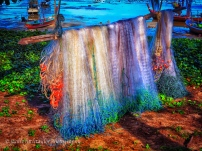 new fishing net hanging fishing village asia bright strong colo