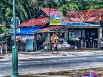 flower girl street vendor detail soft color glow impression