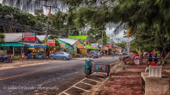 cafe, massage, bars, tourist Rawai road along coast evening impr