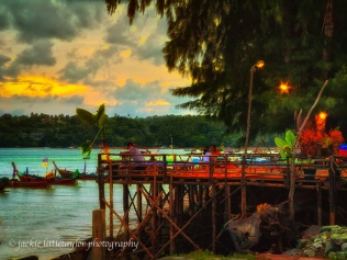 waterfront cafe sunset evening detail color impression porch