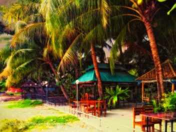 cafe along on Gypsy Beach Siray Island Phuket coconut trees