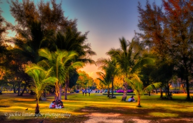 families at the park sunset Saphan Hin Phuket Thailand impressio