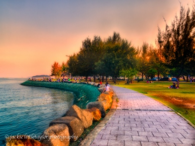 walkway along the water sunset Saphan Hin Park