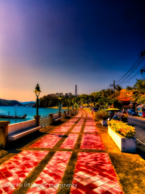 walkway along beach Panwa Phuket Thailand
