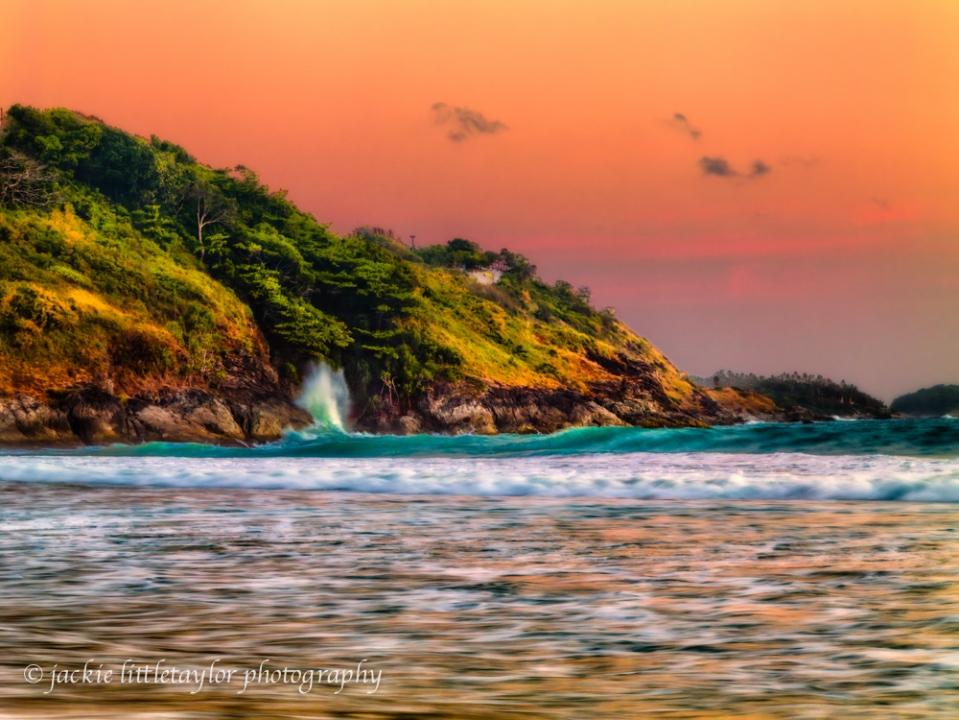 wave crashing coast sunset Andaman Sea impression
