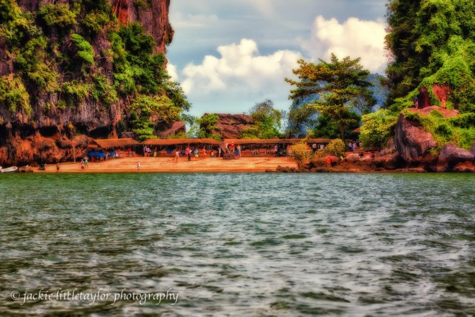 Tapoo Island Beach and shopping James Bond Island Thailand