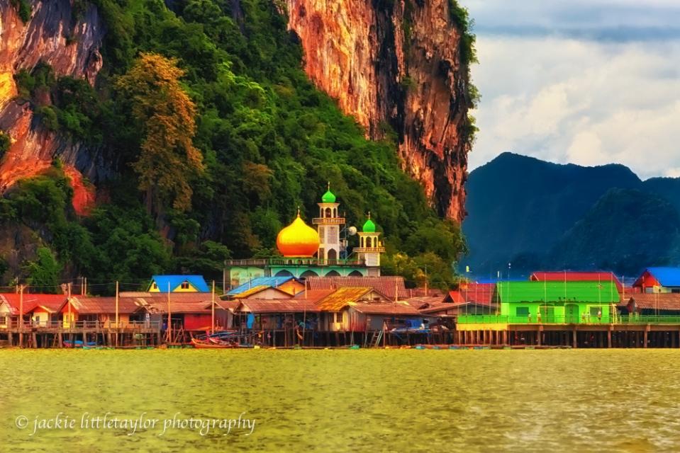 Fishing Village Koh Panyee limestone cliff