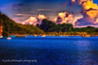 view of beach and resort Phi Phi Island impression deep color su