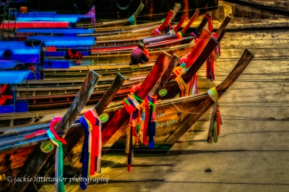 colorful bows of long tail boats Phi Phi Island Thailand impress
