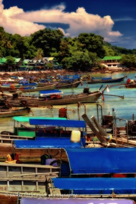 Long Tail Boats Phi Phi Island Thailand Beach