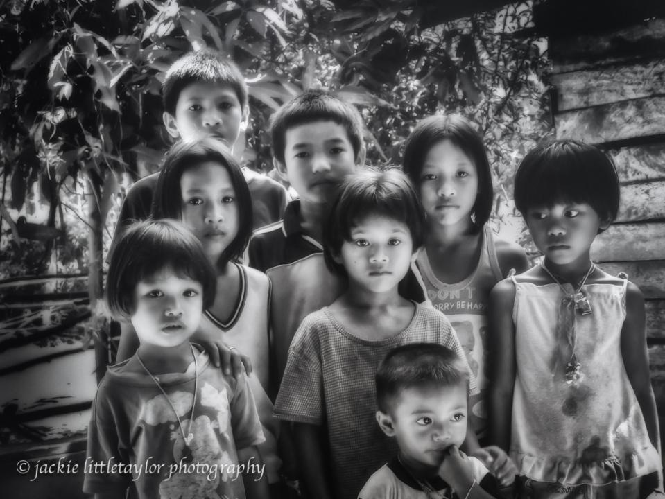 Kids Issan Viilage life Thailand B/W