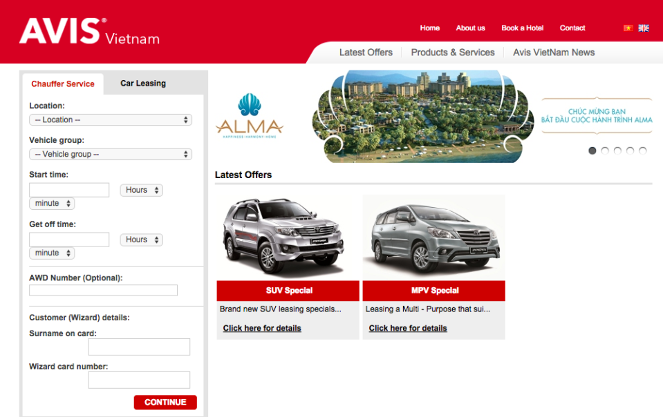 Avis car Rental Vietnam