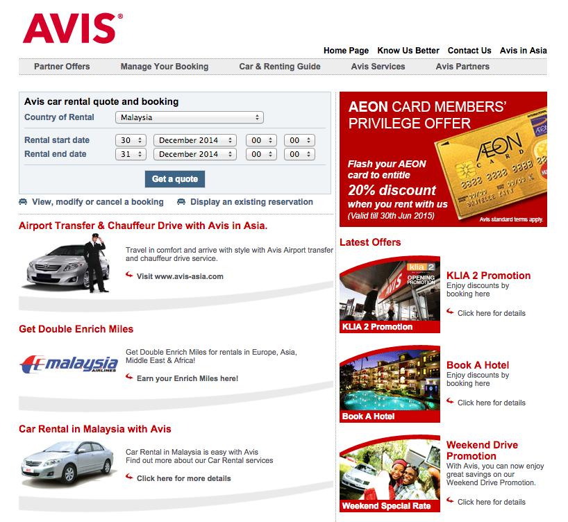 Avis Car Rental Malaysia