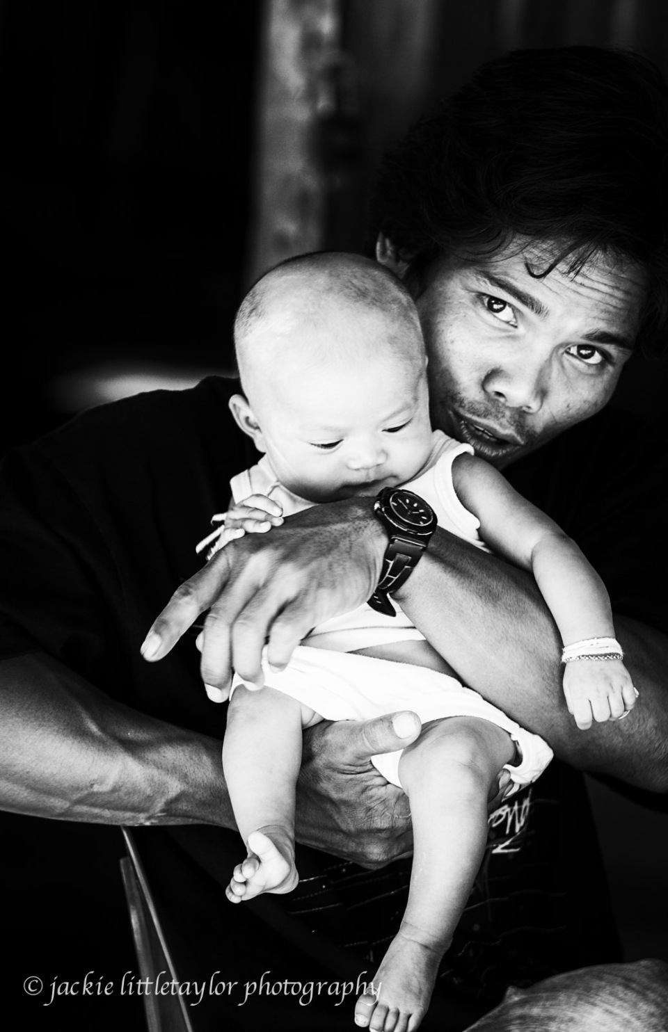 asian father and baby B/W hign contrast