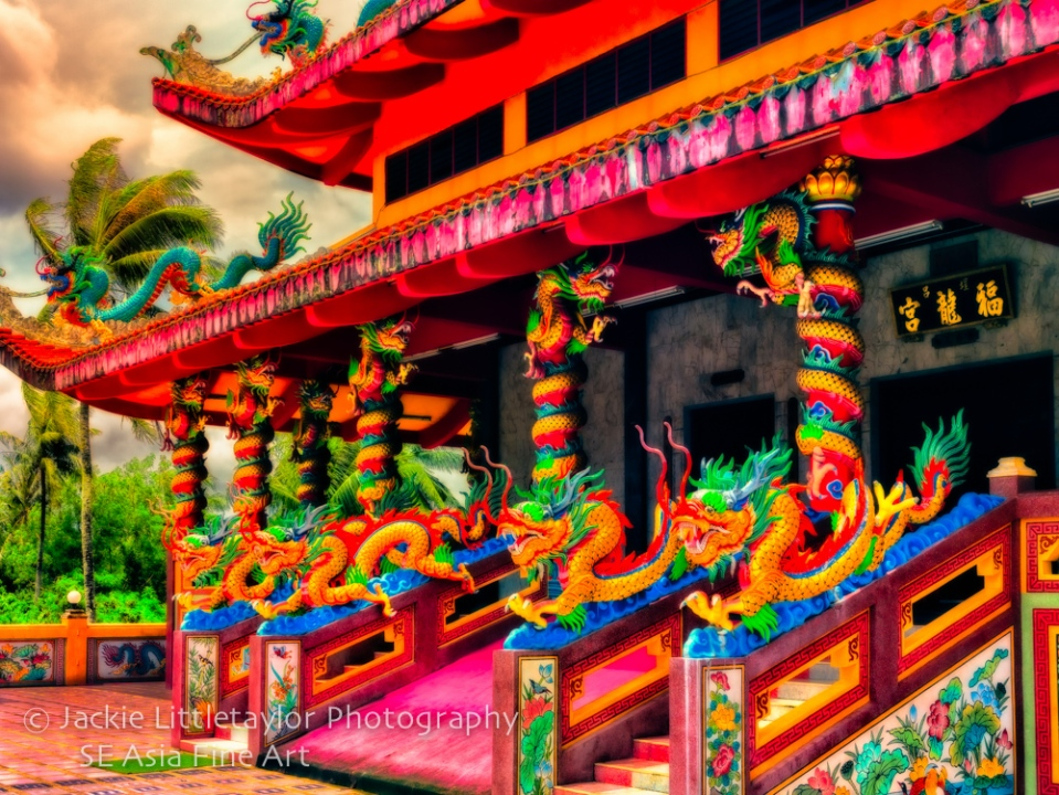 Lovely Chinese Shrine Tha Rua 4 serpants Phuket Thailand