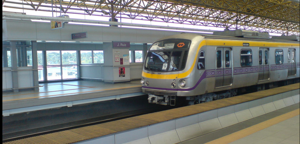 A LRT-2 train at the platform of the J. Ruiz Station