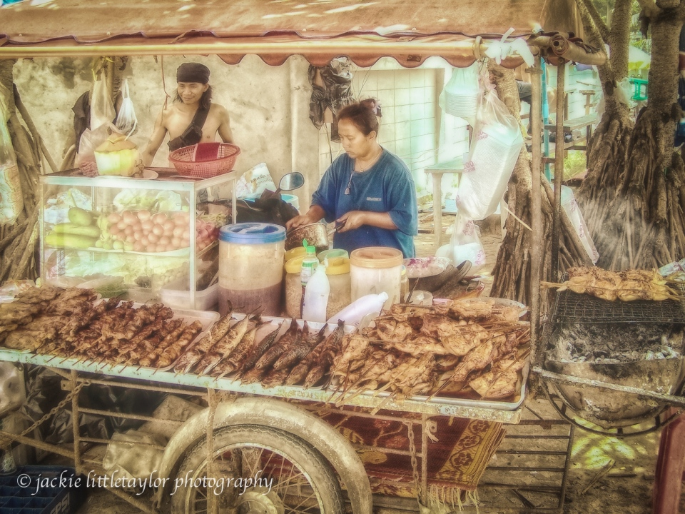 street vendor fish pastel