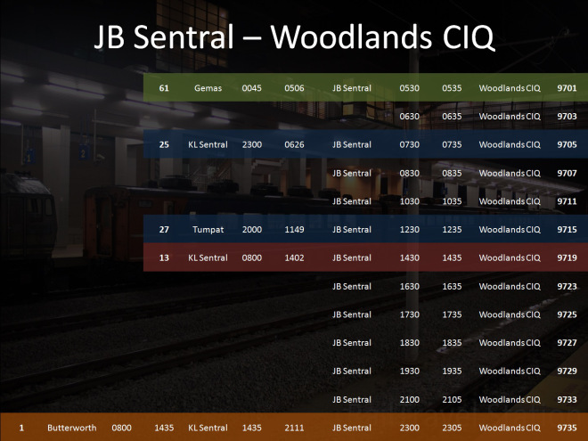 JB Sentral to Woodlands CIQ Timetable