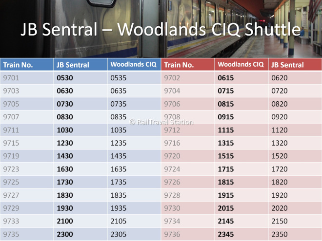 JB Sentral Woodlands CIQ Shuttle Timetable