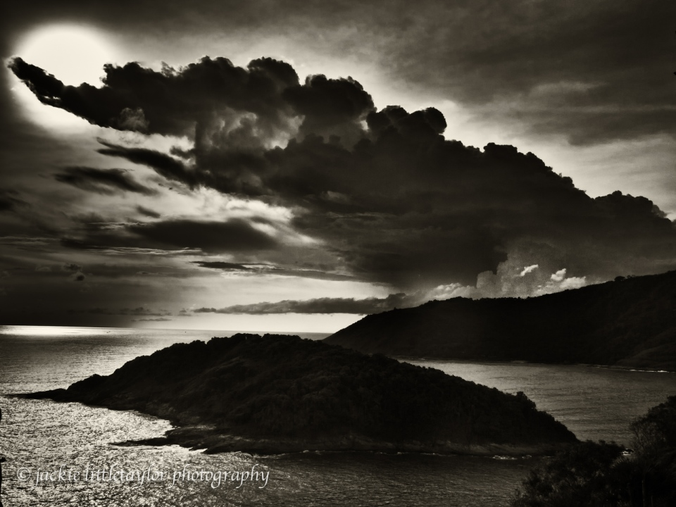sunset dark clouds Andaman Sea dark light on water B/W