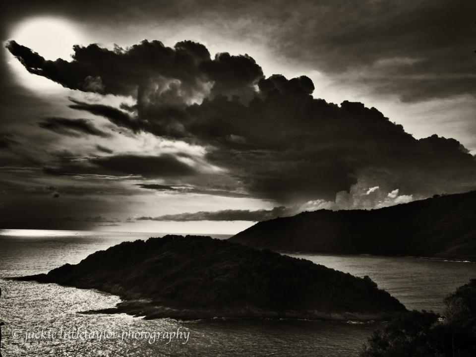 sunset dark clouds Andaman Sea dark light on water B/W