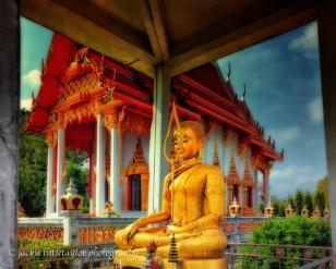 Buddha sitting front Wat Sapum Thammaram Phuket