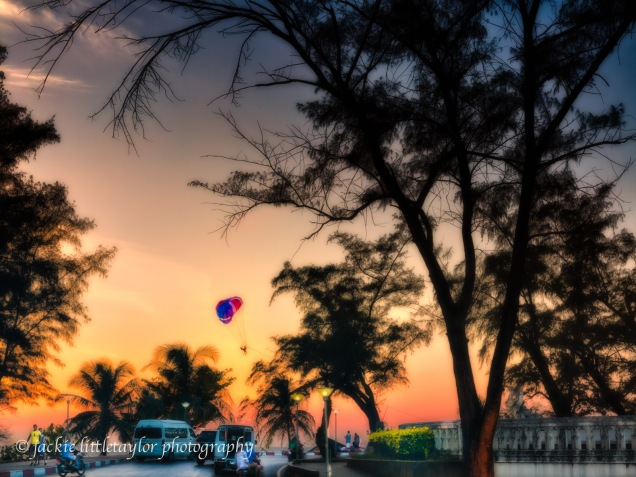 sunset Traffic circle Karon Beach Para-sail