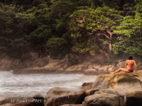 woman red bikini rocks and a green tree