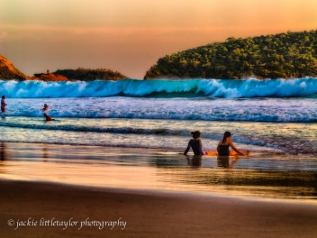 will the wave rich the girls sunset on the beach Nai harn