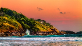 wave crashing coast sunset Andaman Sea impression 16x9 Nai harn