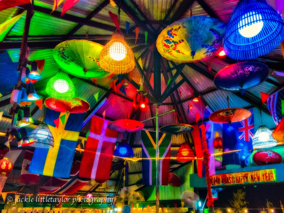 flags and umbrellas Sunshine bar impression